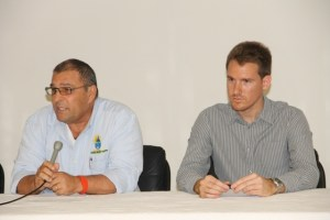 (L-R) Chief Executive Officer of Isratech Jamaica Ltd. Sharom Hodara and Marco Millo Service Engineer of Ritmo in Italy and facilitator at the start of a one-week training session for field workers of the Nevis Water Department, their counterparts in St. Kitts and the Public Works Department on May 27, 2014 in preparation for civil works on the CDB-funded Water Supply and Enhancement Project on Nevis