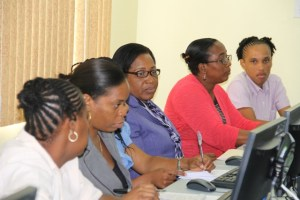 A section of Budget personnel in the Nevis Island Administration during a training exercise at the Ministry of Finance conference room on June 04, 2014
