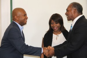 Premier of Nevis Hon. Vance Amory welcomes Nevisian-born Sherry Tross, Executive Secretary of Integral Development at the Organization of American States in Washington and OAS Representative to St. Kitts and Nevis Terence Craig, to his Bath Plain Office on August 29, 2014
