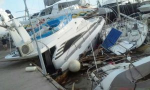 Damages to boats in St. Maarten