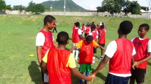 Young footballers in camp