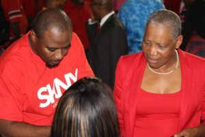 Dr Wilson and Minister Liburd showing their support for SKNY