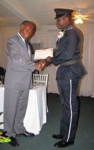 Premier Amory presents award to PC Charles
