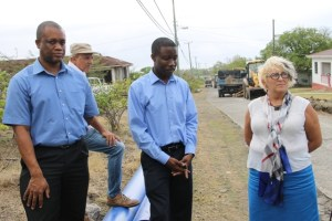 Caribbean Development Bank officials check on progress of the Nevis Water Supply Enhancement Project at Camps Village on April 16, 2015 during a supervision mission. (L-R) Operations Officer (Civil Engineer) and Water Specialist Lennox O. Lewis, Portfolio Manager, Economic Infrastructure Division and newly-appointed Civil Infrastructure Engineer for St. Kitts and Nevis Dr. Anna McCrea