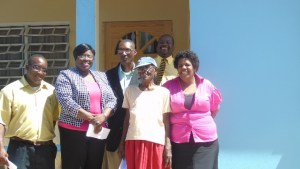 Front--left to right-ASTRO Browne; Hon Hazel Brandy- Williams; Estelle Bartlette; Joyce Moven Back-left to right--Pastor Simeon Prentice and Mr. Keith Glasgow