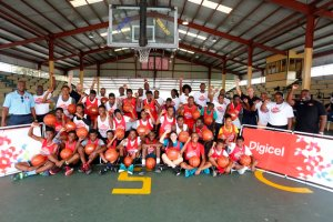 The players and coaches who participated in the first-ever Digicel Jumpstart Clinics in Antigua and Barbuda