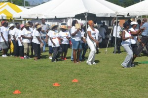 "Seniors getting ready for the ""dance past"" at the first ever Seniors Fun and Action Games hosted by the Ministry of Social Development, Senior's Division at the Elquemedo Willet Park on October 15, 2015"