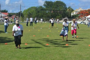 Seniors racing at the first ever Seniors Fun and Action Games hosted by the Ministry of Social Development, Senior's Division at the Elquemedo Willet Park on October 15, 2015