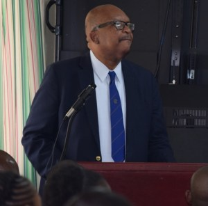 His Excellency Sir S. W. Tapley Seaton taking a question after his presentation on the Juvenile Laws at the Commissioner's Lecture on Wednesday Feb 25