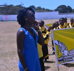 Patron of the 24th Gulf Insurance Inter-Primary Schools Championship Rainielle Arthurton at the opening ceremony of the 24th Gulf Insurance Inter-Primary Schools Championship on March 30, 2016 at the Elquemedo T. Willet Park