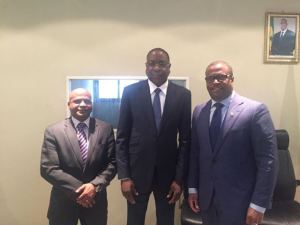 the Honourable Lindsay Grant ( left), Foreign Minister Mankeur Ndiaye (center) and Minister Brantley (right)