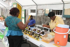 A patron purchasing a product from Agro-Processor Olvis Dyer of Dypresco Products at the Department of Community Development's Community Day Fair in Charlestown on May 20, 2016