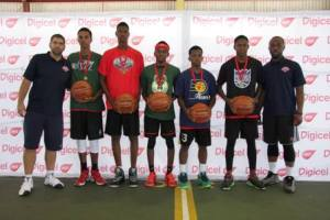 The five kids to represent Antigua and Barbuda at the Elite Camp in October  share a photo with Idia Ogala, NBA Marketing and Advertising Global Partner, and Daniel Soares, NBA Senior Manager of Basketball Operations in Brazil. The seven players are Mico Scotland, Alexis Jackson, Anthony Greer, Lincoln Weekes, Ahmani Browne