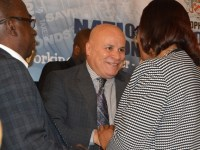 CIC's President, Jose Rosa interacts with staff of the Ministry of Finance.