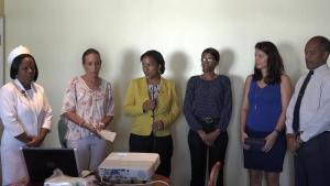 L-r) Matron at the Alexandra Hospital Aldris Pemberton-Dias, President of the Paediatric Assistance League of St. Kitts and Nevis Giselle Matthews, Permanent Secretary in the Ministry of Health Nicole Slack-Liburd, Paediatrician at the Alexandra Hospital Dr. Cloe Smithen, Treasurer of the League Carolyn Chisholm and Hospital Administrator Gary Pemberton at a handing over ceremony of equipment for the Paediatric Ward at the hospital's conference room on October 18, 2016
