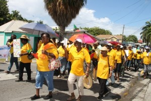 Senior Citizens on Nevis marching against ageism in Charlestown on October 07, 2016, the first activity for Month of Older Persons, hosted by the Seniors Division in the Department of Social Services, Ministry of Social Development