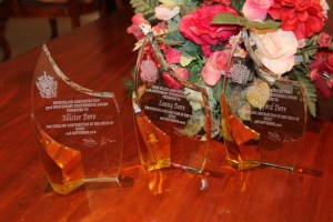 The three tokens of recognition presented to the Dore Brothers for their contribution to Music on Nevis at the St. Christopher and Nevis Social Security Board's conference room at Pinney's on October 25, 2016