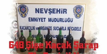 Nevşehir'de 648 Şişe Kaçak Şarap Ele Geçirildi
