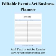 Editable Events Art Business Planner
