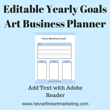 Editable Yearly Goals Art Business Planner