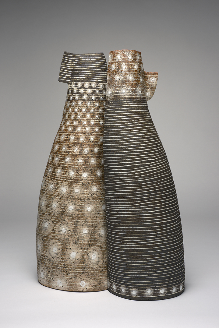 pair of vessels, 2015, stoneware clays, inlayed porcelain lines