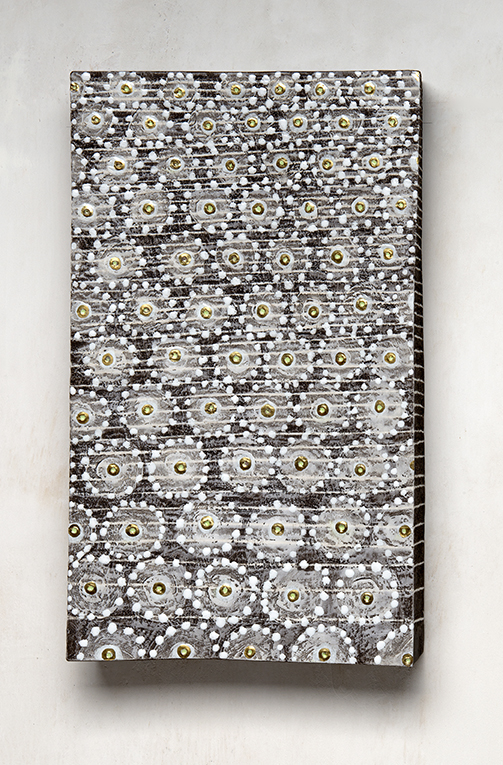 wallpiece, black stoneware, gold, porcelain, whitze