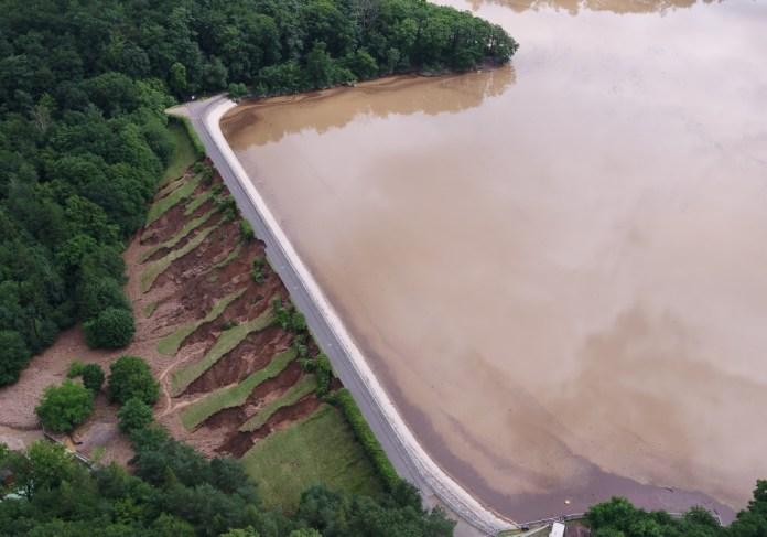 Steinbachtalsperre beim Hochwasser im Juli 2021, Rhein-Sieg-Kreis, über dts Nachrichtenagentur