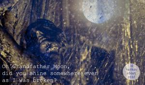 Oh grandfather moon, did you shine somewhere as I was broken? 30 haikus about ptsd.