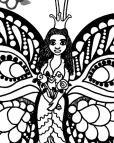 Butterfly Princess Coloring Page detail of princess