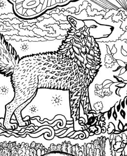 Finding Your Inner Wolf Coloring Page detail of wolf standing on clouds