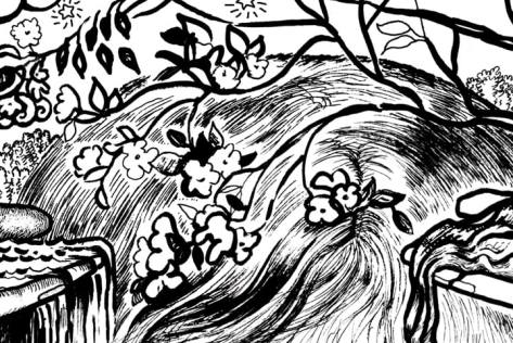 Opening up to Goodness and Allowing Emotions Coloring Page plum blossoms detail