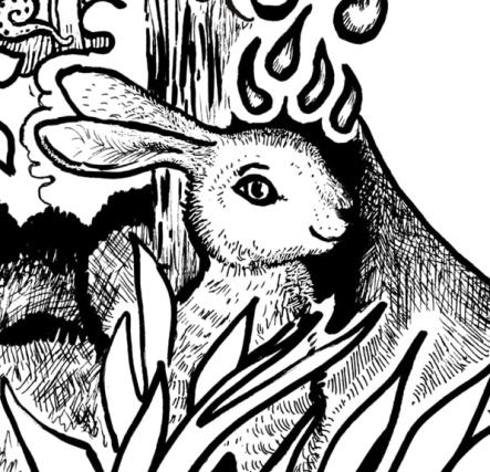 Opening up to Goodness and Allowing Emotions Coloring Page bunny rabbit detail