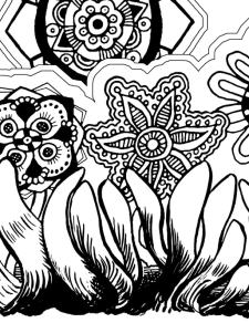 Self-Holding Step 3 Coloring Page flowers with intricate pattern in the centers