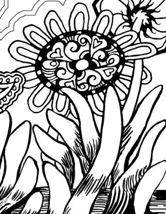 Self-Holding Step 3 Coloring Page flower with intricate pattern in the center