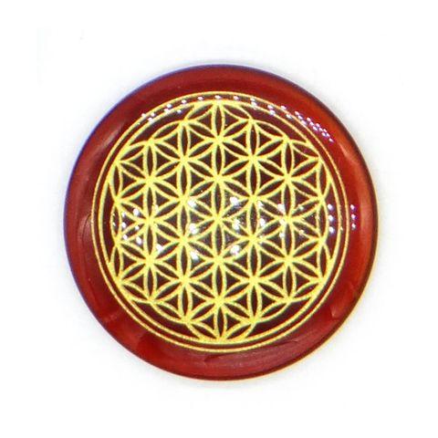超光速粒子生命之花碟形水晶 3 cm - 红玛瑙(矿石脉轮珠) 1