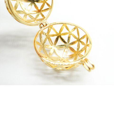 超光速粒子生命之花镀金纯银球形坠(直径 2.2 cm) 4