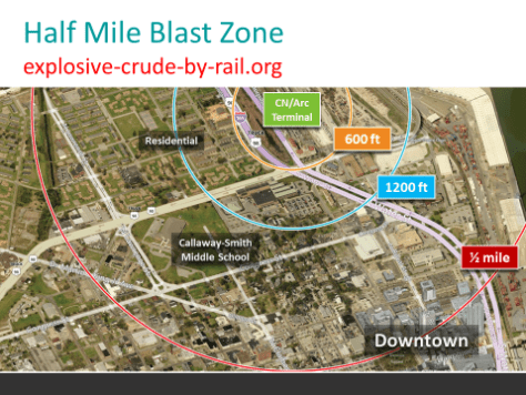 Blast zone around proposed oil train unloading facility, downtown Mobile
