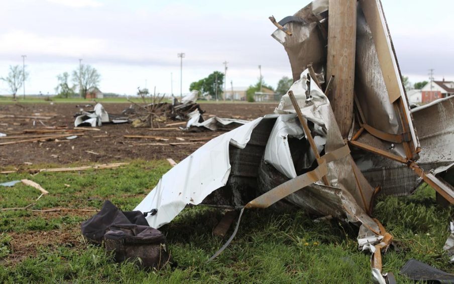 Tornado damage at Roseland, Nebraska.