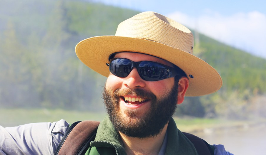Ranger Nick Virgil giving a tour of geysers in Yellowstone National Park.