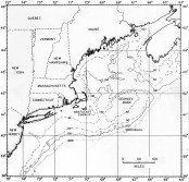 Map of George's Banks, one of the world's most fertile fishing grounds and spawning area for over 25 species of the North Atlantic. Graphics by Pat Cave