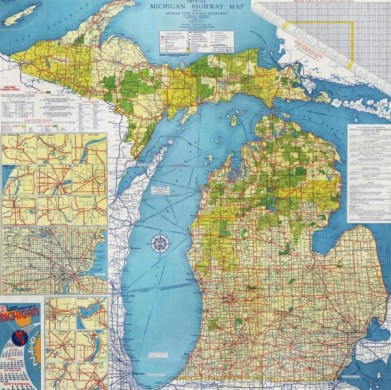 Mapping Movement in American History and Culture   Newberry Official State Highway Map of Michigan  1942