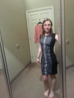 Trying on a super cute dress - no bag in sight!