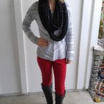 High-waisted red pants from Forever 21 go perfectly with this patterned, knit sweater. This sweater works well with lots of bottoms because long enough that it disguises anything anyone might think they see.