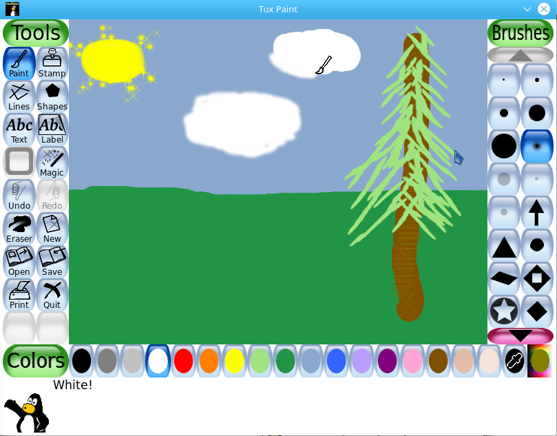 Simple drawing with Tux Paint