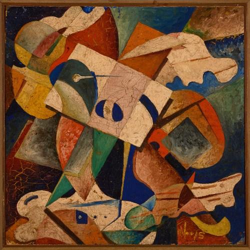 "Oswaldo Vigas, ""Composición-IV,""-1943, oil on cardboard, 32 x 32 cm"
