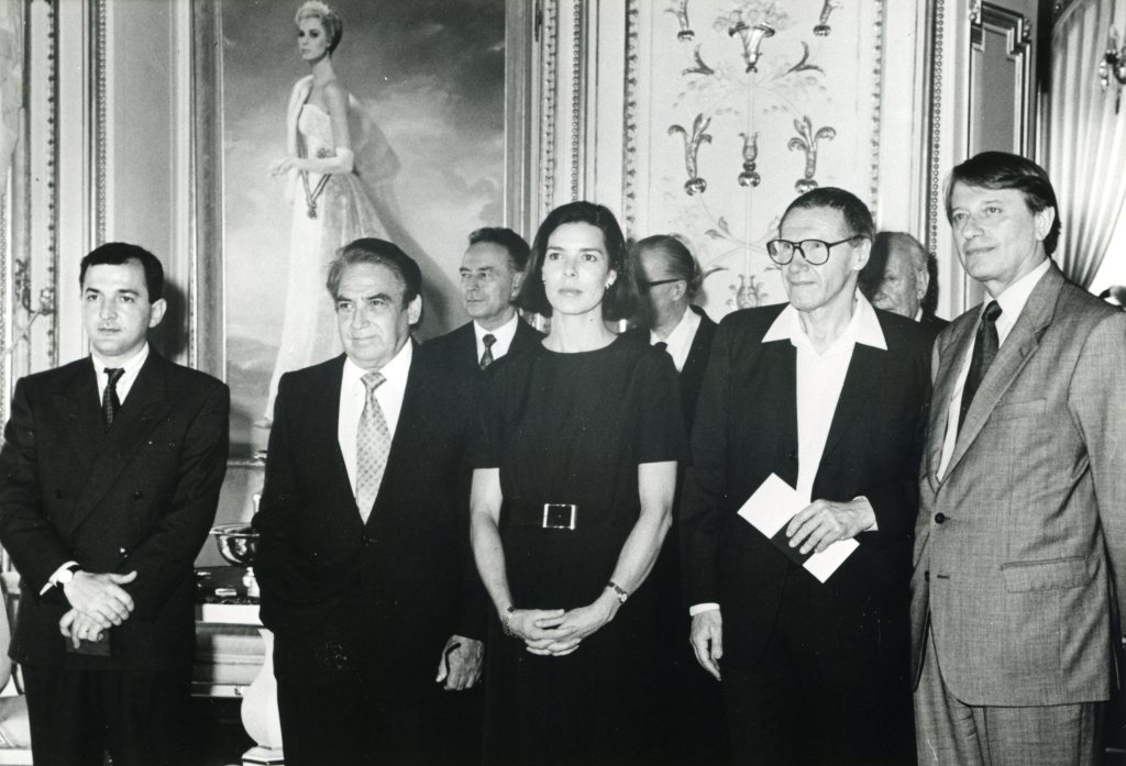 Oswaldo Vigas, left of Princess Caroline, is honored with the XXVI Prince Rainier Grand Prize, Monaco, 1992