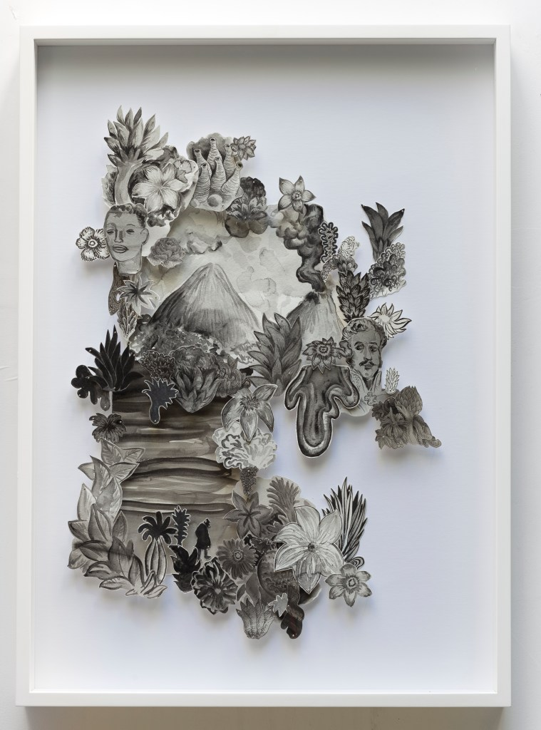 Pedro Varela, Untitled, 2016, drawing over paper cutout, 70 x 50 cm