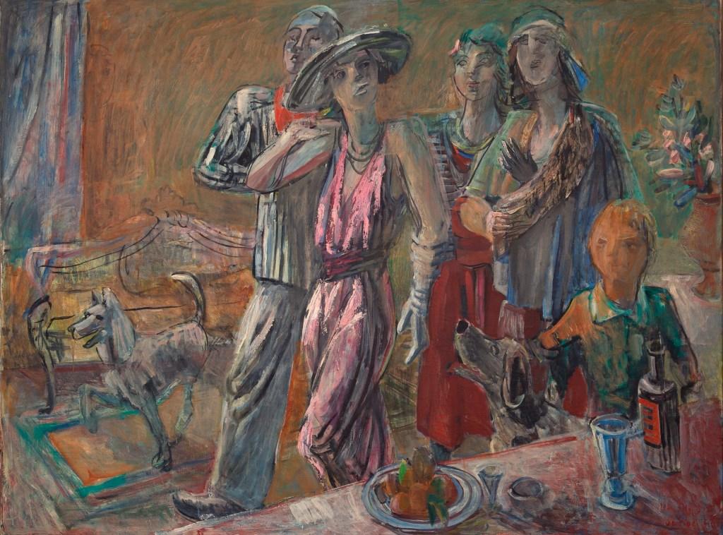 """De Fiore, """"Visitors,"""" Gala series, 1943, oil on canvas, 134x178cm"""