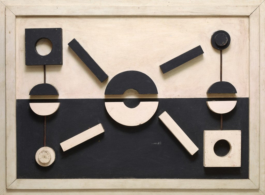 Dolores (Loló) Soldevilla, Untitled, circa1957, wood and metal strips over wooden board 66x90cm, Courtesy Dan Galeria
