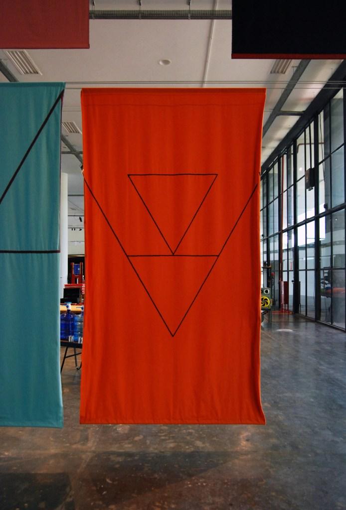"Felipe Mujica Las universidades desconocidas [The Unknown Universities], 2016 Fabric, thread and embroidered yarn 30 panels, 295 x 160 cm | 116"" x 63"" (aprox.)/Photo: Felipe Mujica"